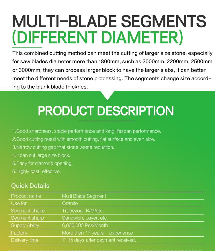 diamond segments for multi-blade